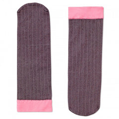 Happy Socks Women's Ankle Tube Socks - Grey & Pink Pinstriped