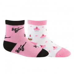 Sock It To Me Girls Socks Twin Pack - Pink Ninja & Cupcake (1-2 Years Old)