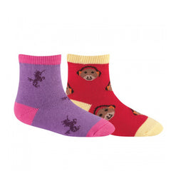 Sock It To Me Girls Socks Twin Pack - Unicorn & Monkey (1-2 Years Old)