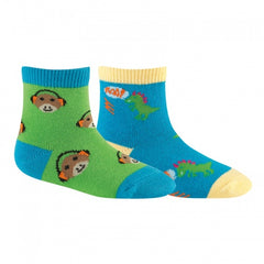 Sock It To Me Boys Socks Twin Pack - Monkey & Dinomite (1-2 Years Old)
