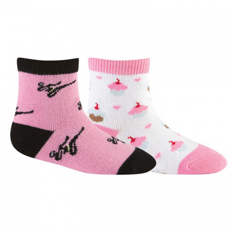 Sock It To Me Girls Socks Twin Pack - Pink Ninja & Cupcake (2-4 Years Old)