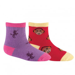 Sock It To Me Girls Socks Twin Pack - Unicorn & Monkey (2-4 Years Old)