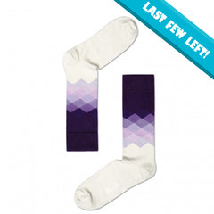 Happy Socks Men's Crew Socks - Purple to White Faded Diamond