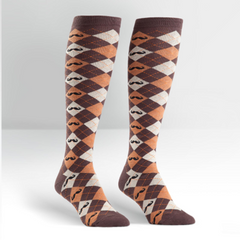 Sock It To Me Women's Knee High Socks - Argyle Moustache