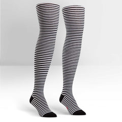 Sock It To Me Women's Over the Knee Socks - Black & White Striped