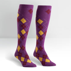 Sock It To Me Women's Knee High Socks - Patched Argyle