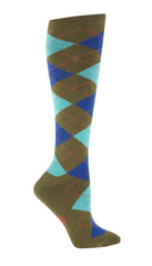 Sock It To Me Women's Knee High Socks - Argyle Green & Turquoise