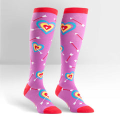 Sock It To Me Women's Knee High Socks - Cupid's Bullseye