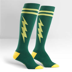 Sock It To Me Women's Funky Knee High Socks - Super Hero! Green & Yellow