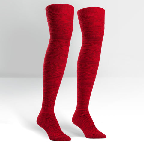 Sock It To Me Women's Over The Knee Socks - Red Alpine Knit