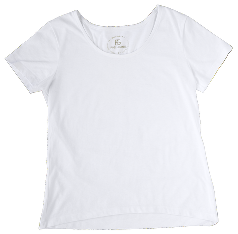 FIGI Women's Premium Designer Cotton White Scoop Neck T-Shirt