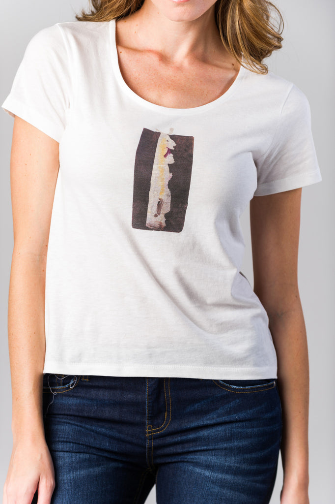FIGI Women's Premium Designer Cotton Edgy Bunny White Scoop Neck T-Shirt