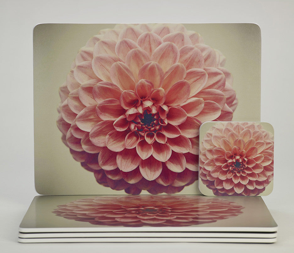 'Retro Dahlia Pop' placemats & coasters