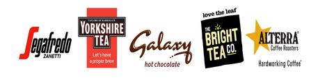 Flavia Brands logos including , Segafredo, Taylors of Harrogate, Galaxy  Chocolate, Bright Tea Co