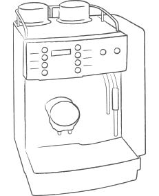 Bean to Cup Coffee Machine Line Drawing