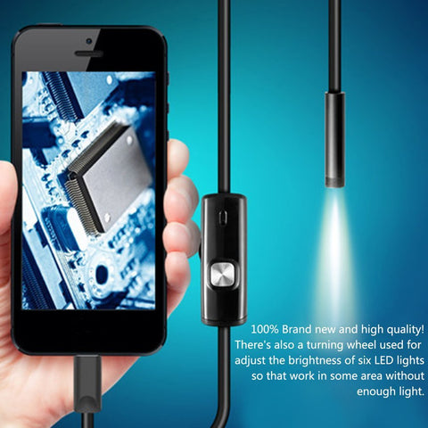 1M 1.5M 5.5mm 7mm Endoscope Camera Flexible IP67 Waterproof Inspection Borescope Camera for Android PC Notebook 6LEDs Adjustable