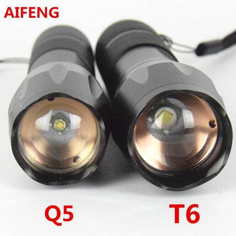 Aifeng 3800lm Cree Xml T6 Flashlight 18650 2000lm Q5 Torch Zoom Led  Rechargeable Lamp Zoomable Hunting Camping