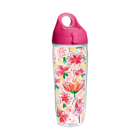 Painted Floral Tervis Water Bottle-Drinkware-Ashley Brooke Designs