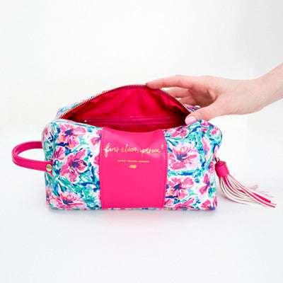 First Class Floral Makeup Bag-Cosmetic Zip Pouch-Ashley Brooke Designs