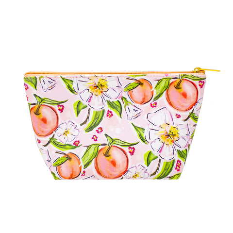 Peaches in Bloom Cosmetic Bag-Cosmetic Zip Pouch-Ashley Brooke Designs