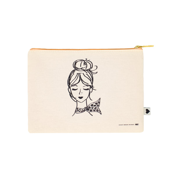 French Girl Zip Pouch-Cosmetic Zip Pouch-Ashley Brooke Designs