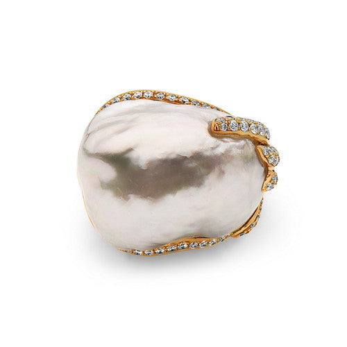 18-19mm Natural Color White South Sea Baroque Pearl and Diamond Ring