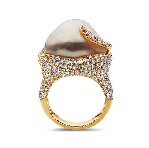 16-17mm Natural Color White South Sea Pearl and Diamond Ring