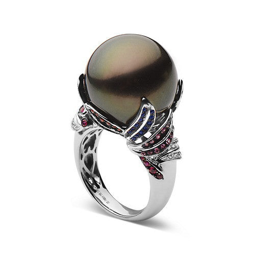 17-18mm Natural Color Tahitian Pearl, Diamond and Multicolor Stones Ring