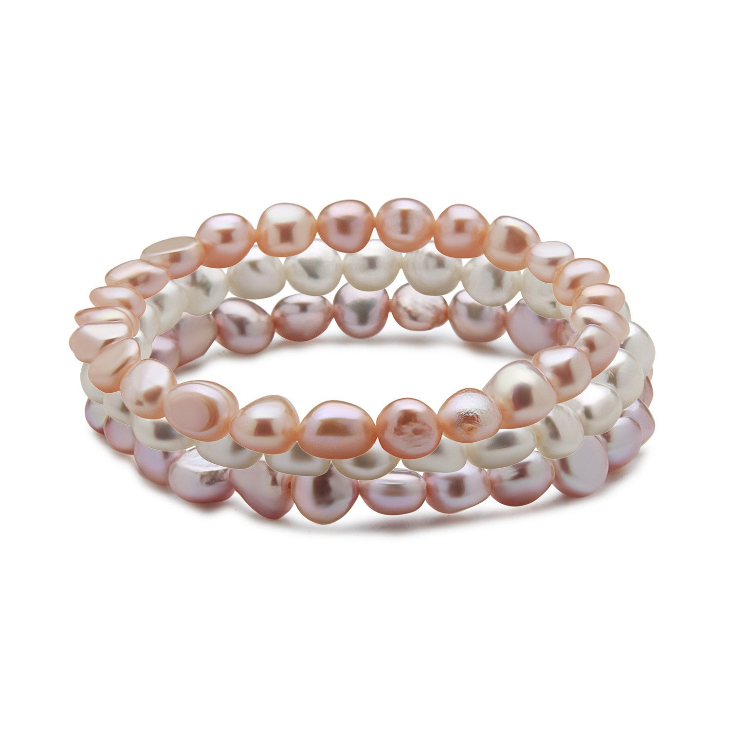 Set of 3 Freshwater Cultured Pearl Stretch Bracelets