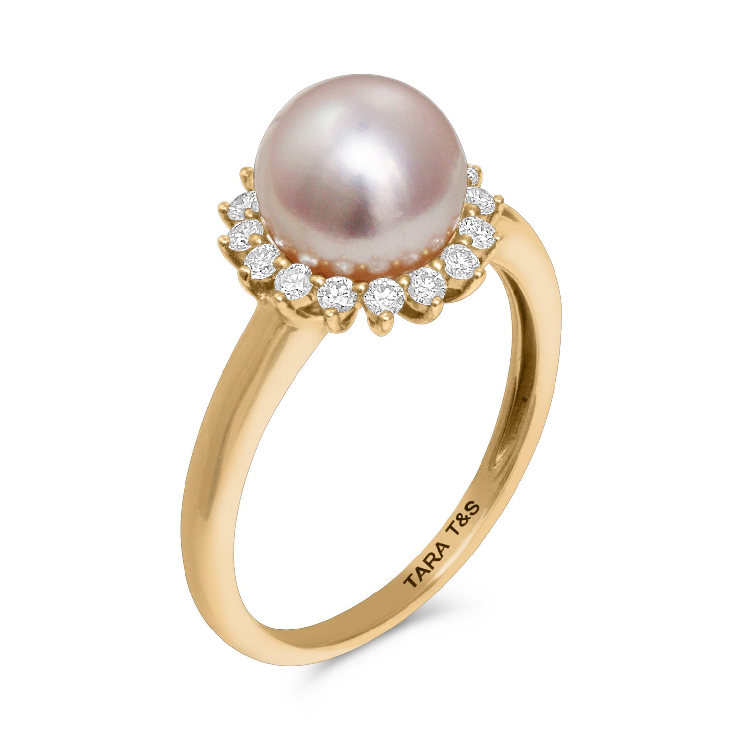 Classic Collection 14k 8-8.5mm Akoya Cultured Pearl and Diamond Ring