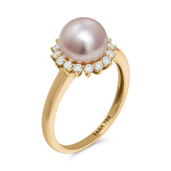 Classic Collection  8-8.5mm Akoya Cultured Pearl and Diamond Ring