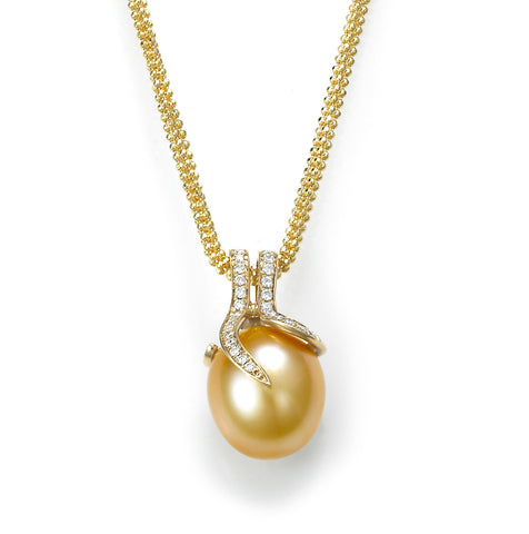 Oscar Collection 11-13mm Golden South Sea Pearl And Diamond Pendant