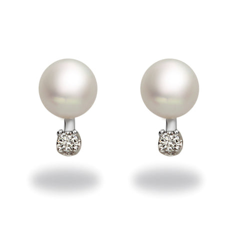 6mm Akoya Pearl and Diamond Stud Earrings