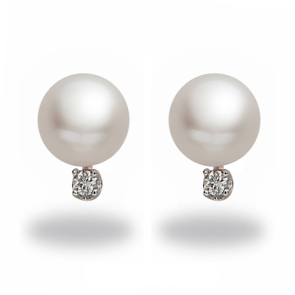 9-10mm Akoya Pearl and Diamond Stud Earring