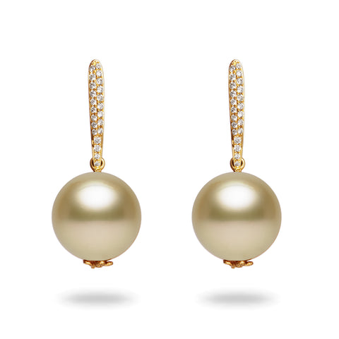 12-13mm Golden South Sea Pearl and Diamond Earrings