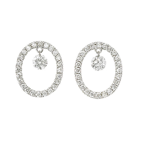 Dancing Diamond™ Collection 9-10mm Freshwater Pearl and Diamond Earrings