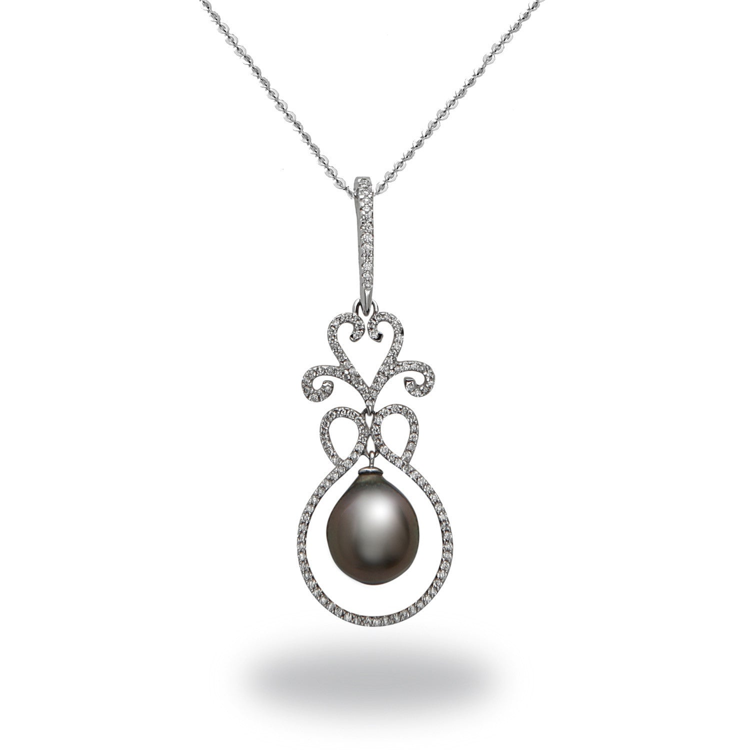 Chandelier 10-11mm Tahitian Cultured Pearl and Diamond Enhancer