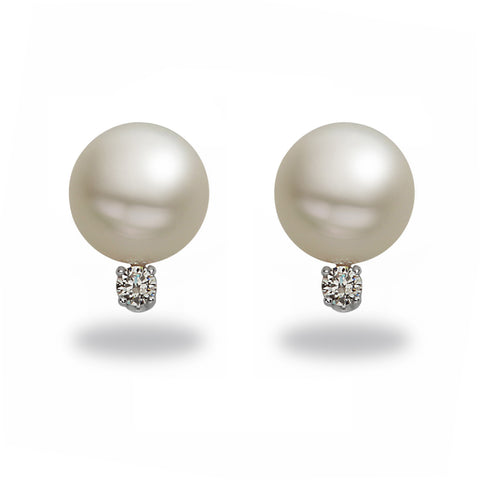 7mm Akoya Pearl and Diamond Stud Earrings