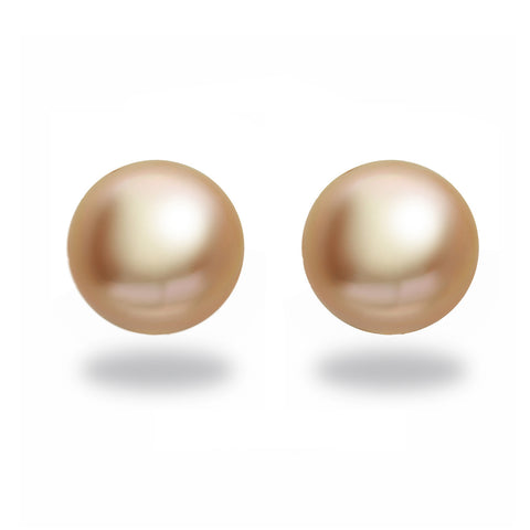 9-10mm Golden South Sea Pearl Stud Earring
