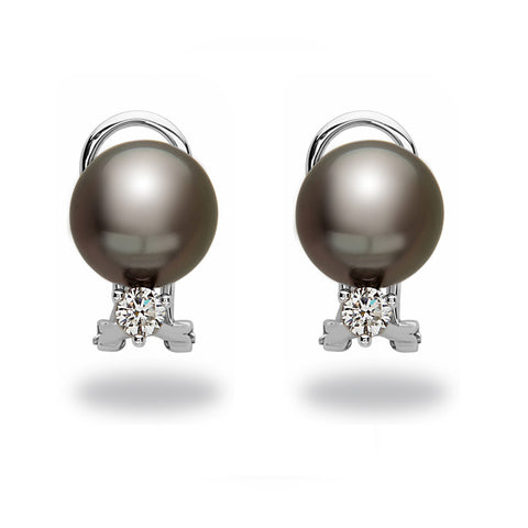 8-9mm Tahitian Pearl and Diamond Stud Earrings