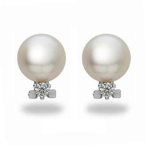 9-10mm White South Sea Pearl and Diamond Earrings