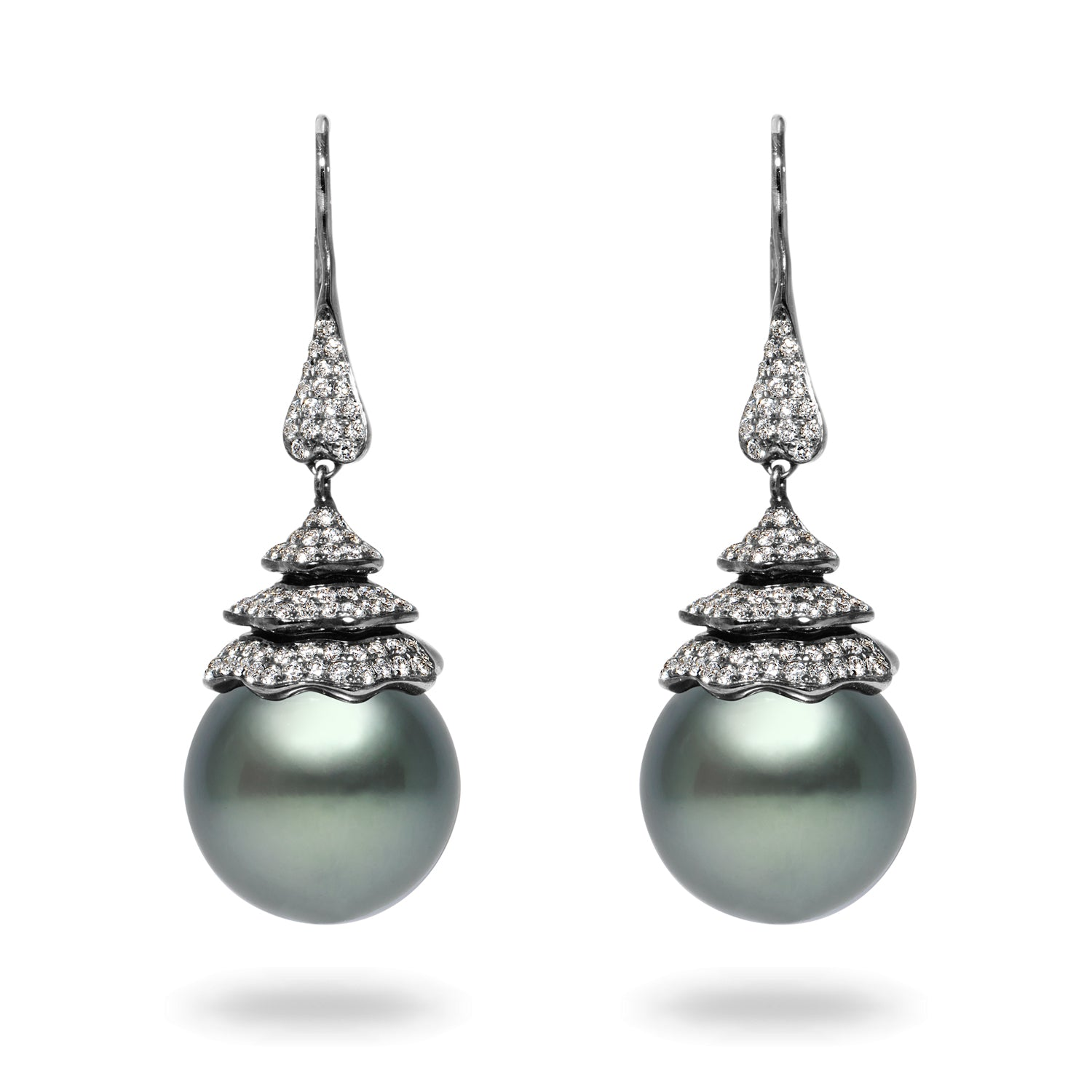 15-16mm Tahitian Pearl and Diamond Earrings