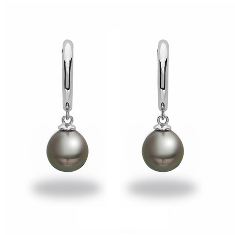 9-10mm Black Tahitian Pearl Earrings