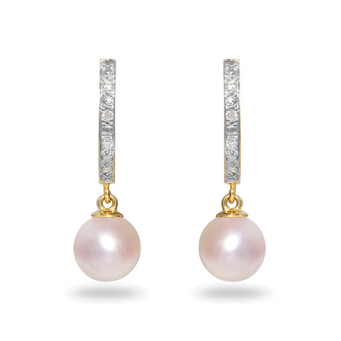 5mm Akoya Pearl and Diamond Stud Earrings
