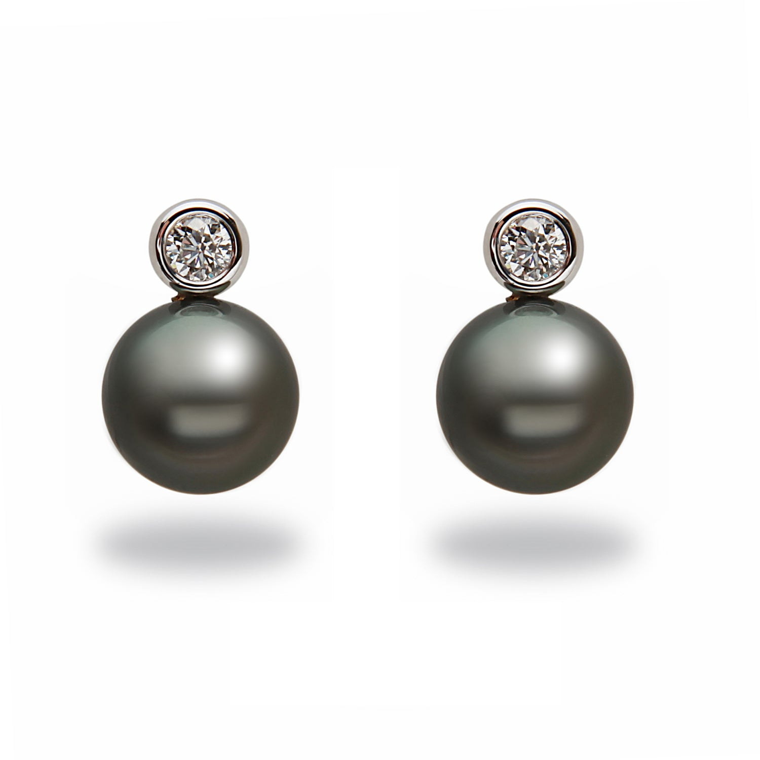 10-11mm Tahitian Pearl and Diamond Earrings