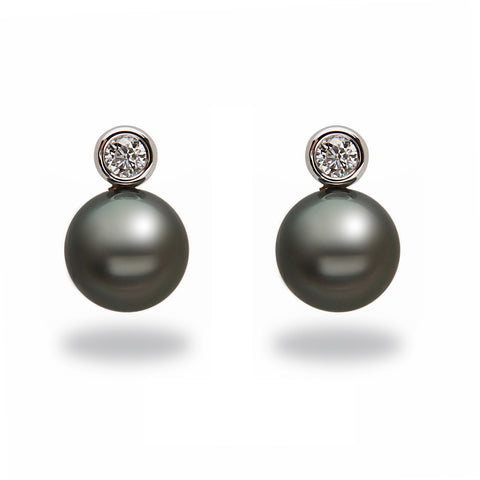 9-10mm Tahitian Pearl and Diamond Earrings