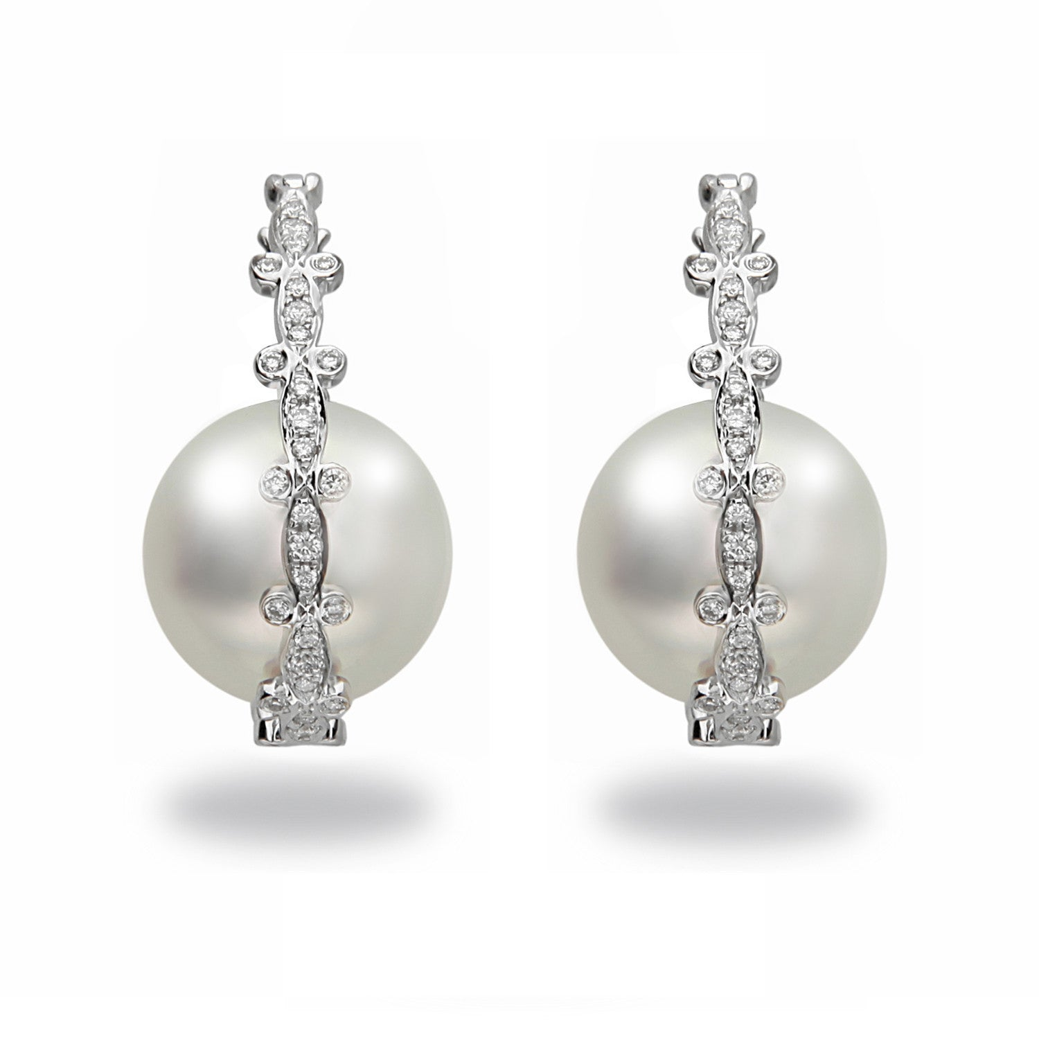 Galaxy Collection 12-13mm White South Sea Earrings
