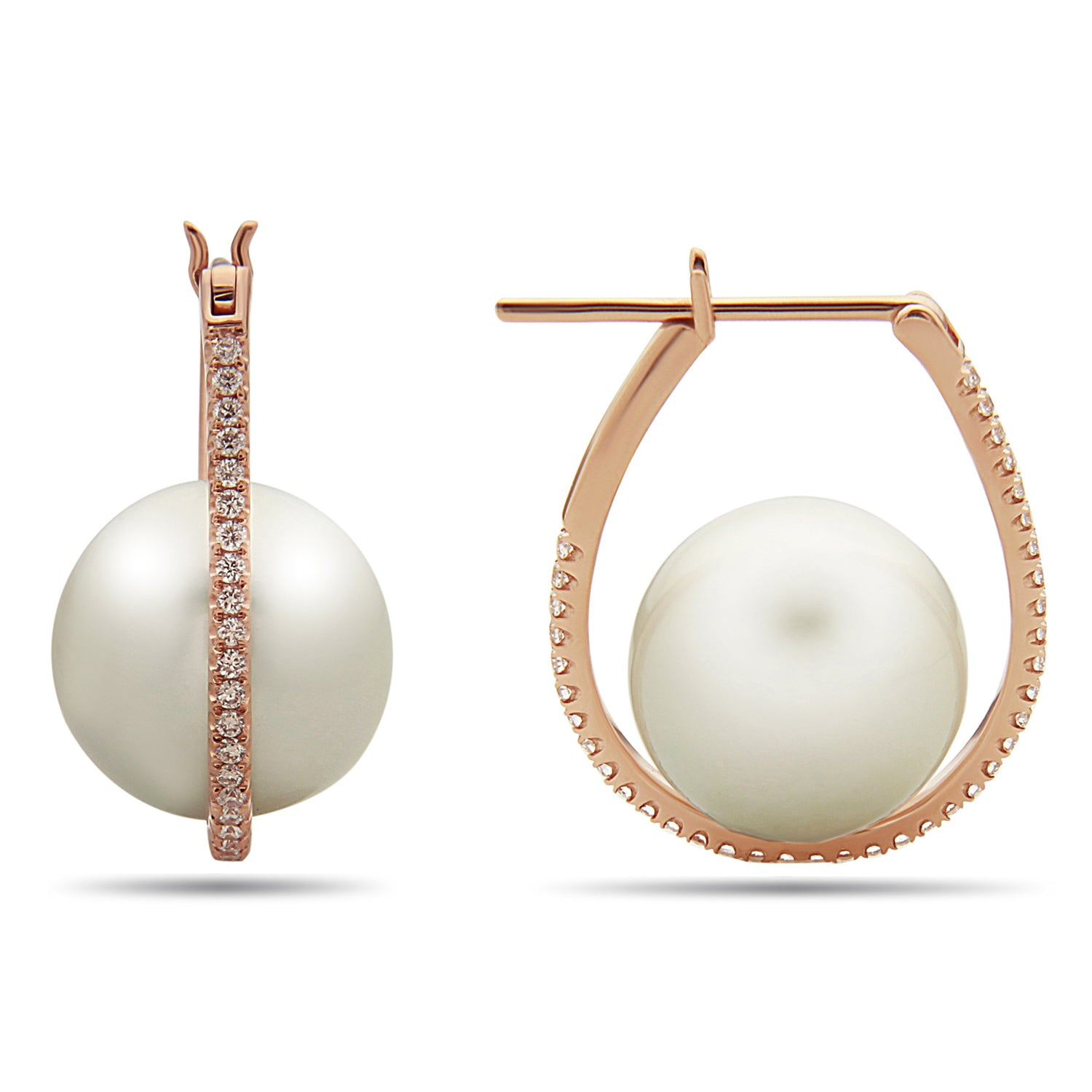 Galaxy Collection 12-13mm White South Sea Pearl and Diamond Earrings