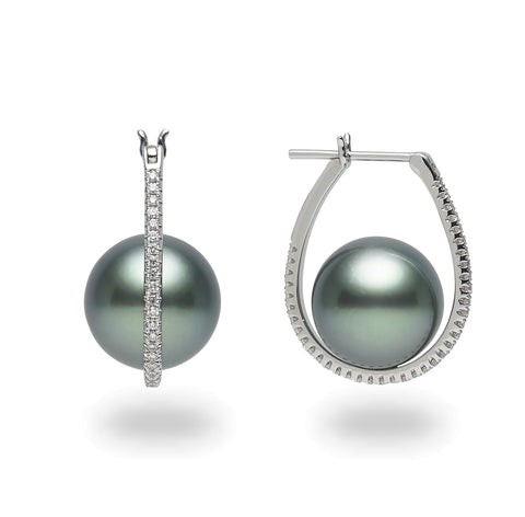 Galaxy Collection 11-12mm Large Hoop White South Sea Pearl Earrings