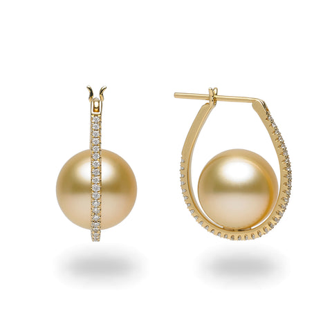 Galaxy Collection 11-12mm Large Hoop Golden  South Sea Pearl Earrings